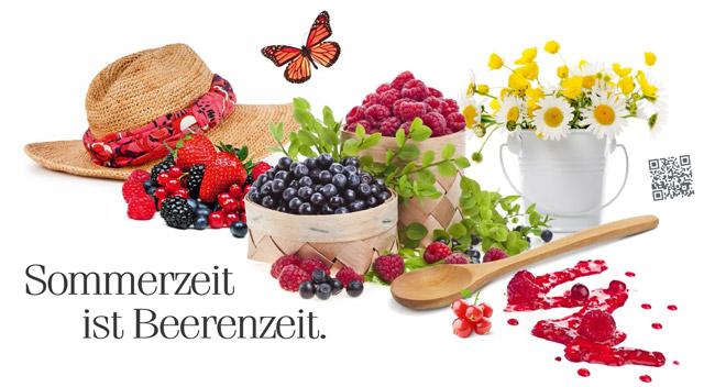 Arrangement mit bunter Beerenmischung, wie sie in den Morga Fruchtaufstrichen enthalten ist