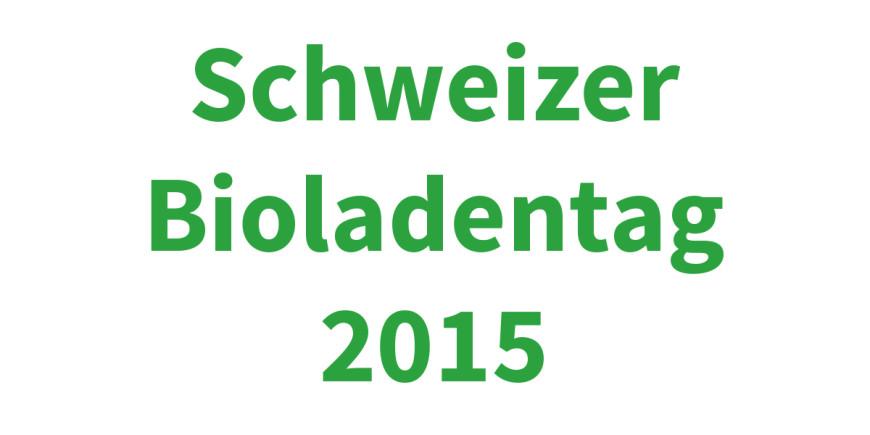 """Banner mit Schriftzug """"Schweizer Bioladentag 2015"""" von Morga"""