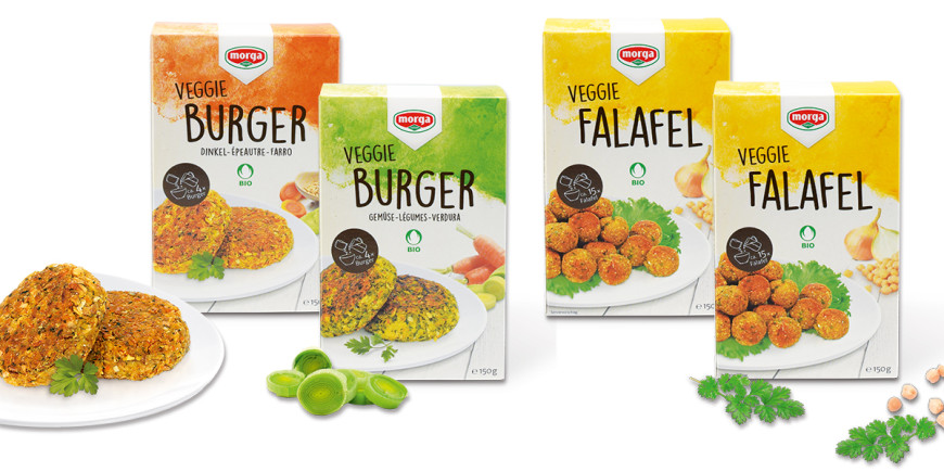 Packshots Veggie Burger Mischung und Falafel Mischung Bio Knospe von Morga
