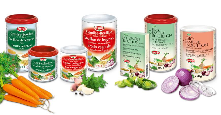 Morga Gemüse-Bouillon Paste und Instant Gemüse-Bouillon fettfrei (Dose), Morga Bio Gemüse Bouillon Paste in der Dose und Bio Gemüse Bouillon Suppenwürfel, sowie Bio Gemüse Bouillon Instant fettfrei