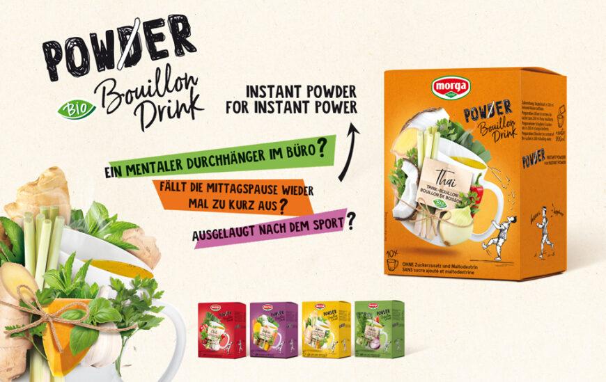 1 Beutel Power Powder Bouillon Drink und 200 ml heisses Wasser in eine Tasse geben, umrühren und fertig.