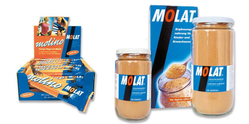 Nahrungsergänzungsmittel Molat als Pulver im Glas und Karton erhältlich und als Energieriegel Molino
