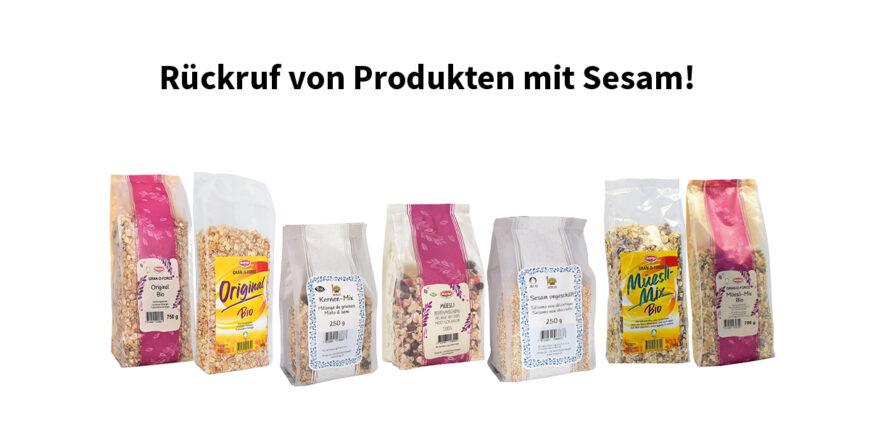 Rückruf von Produkten mit Sesam