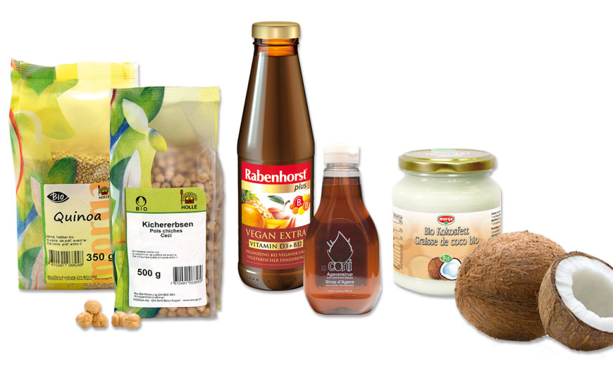 Quinoa, Kichererbsen, Rabenhorst-Saft, Agavensirup und Bio-Kokosfett aus dem veganen Sortiment von Morga