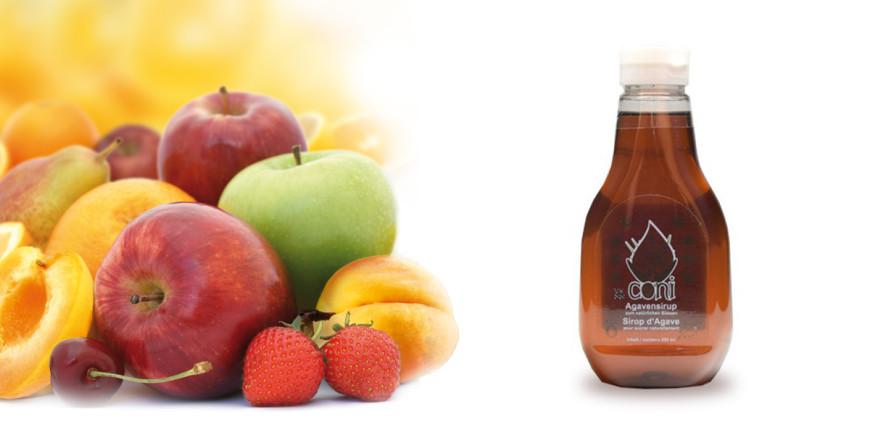 Früchte und Agavendicksaft