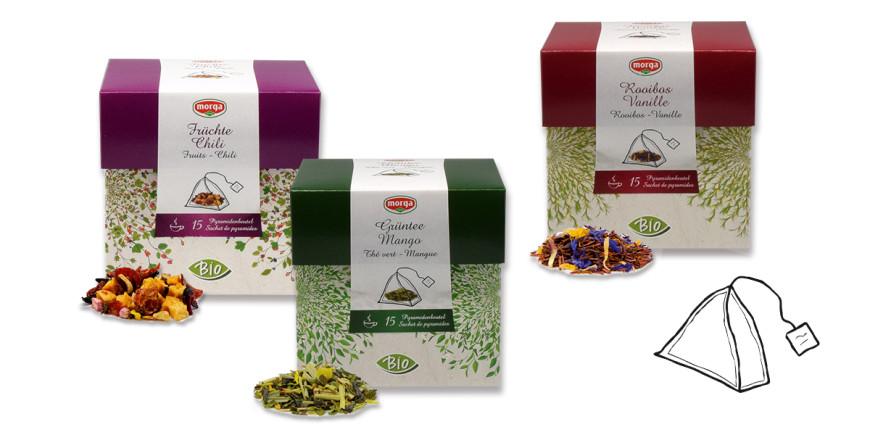 Neue Bio Tees in Pyramidenteebeuteln in spannenden und intensiven Mischungen